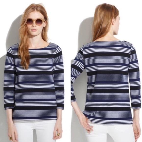 Madewell Gallerist Ponte Striped Sweater Top Sz XS